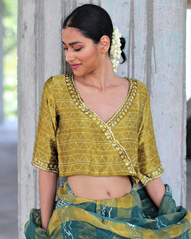 MUSTARD BLOCK PRINTED CROP TOP BLOUSE IN MASHRU SILK-HIBISCUS