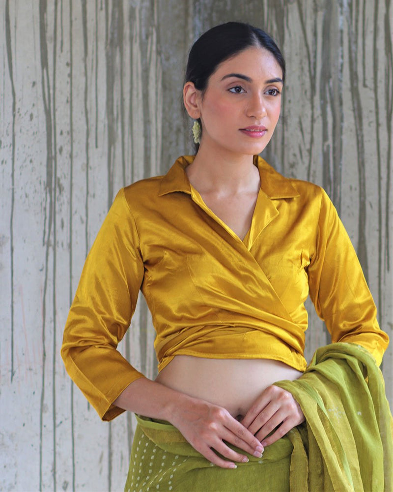 YELLOW TIEUP MASHRU SILK BLOUSE- MANJARI