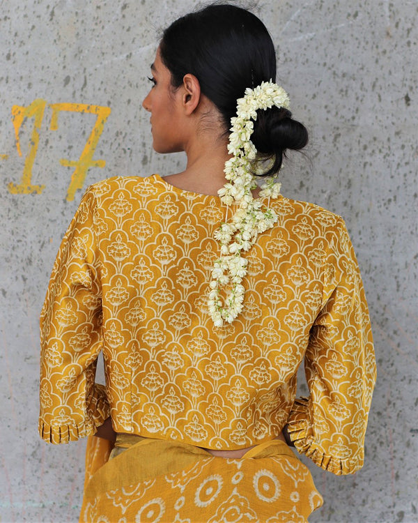YELLOW MASHRU SILK BLOCKPRINTED BLOUSE - MANJARI
