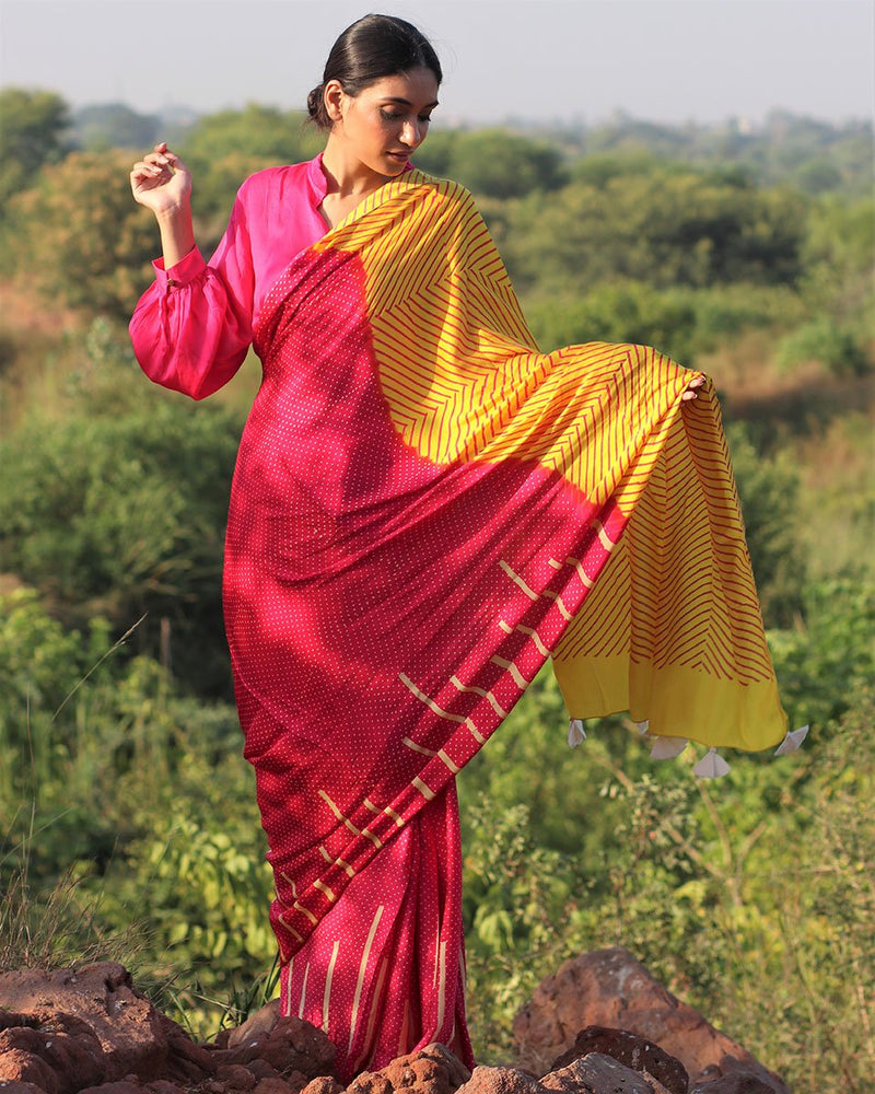 Pink-yellow BlockPrinted Modal Silk Saree - Rang