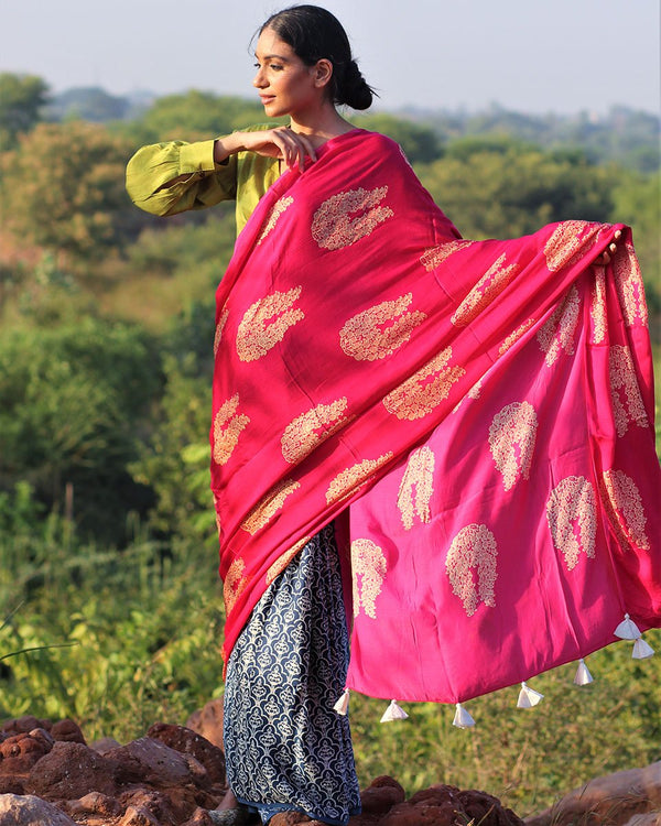 Pink-Blue BlockPrinted Modal Silk Saree - Rang