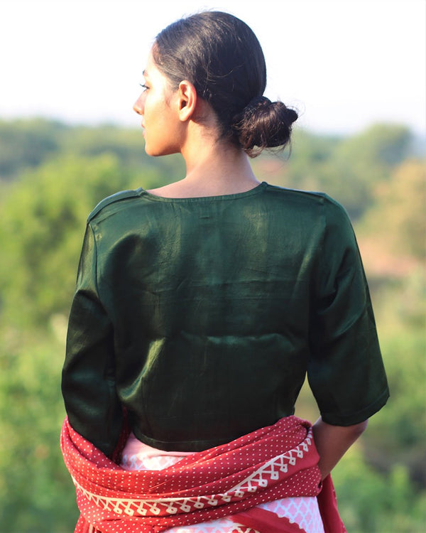 DARK GREEN  MASHRU SILK BLOUSE- MANJARI