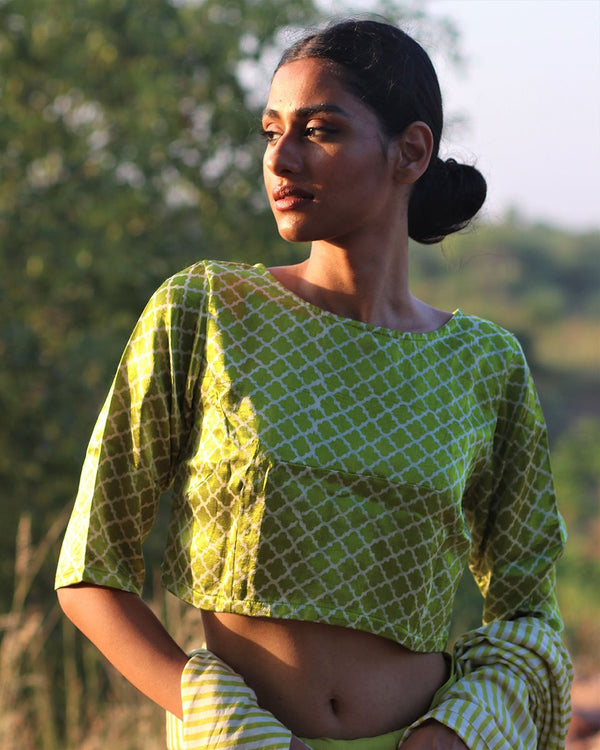 PARROT GREEN  BLOCKPRINTED MASHRU SILK BLOUSE- MANJARI