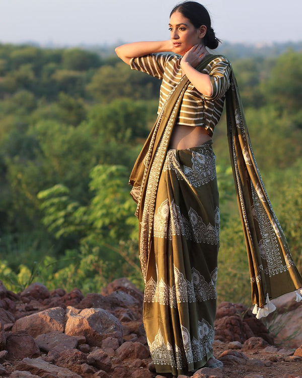 Olive BlockPrinted Modal Silk Saree - Rang