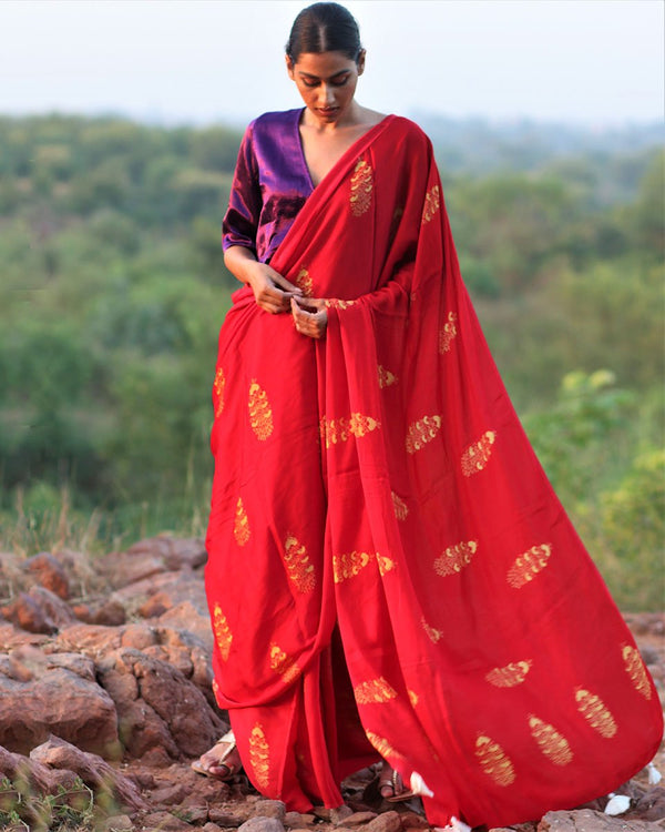 Red BlockPrinted Modal Silk Saree - Rang