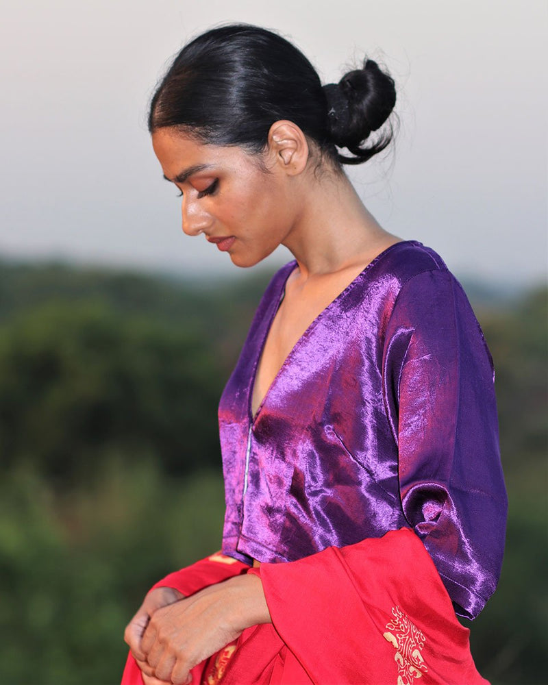 PURPLE MASHRU SILK BLOUSE - MANJARI