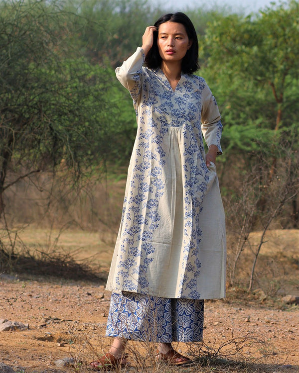 Beige blue blockprinted bel kurti set of 2