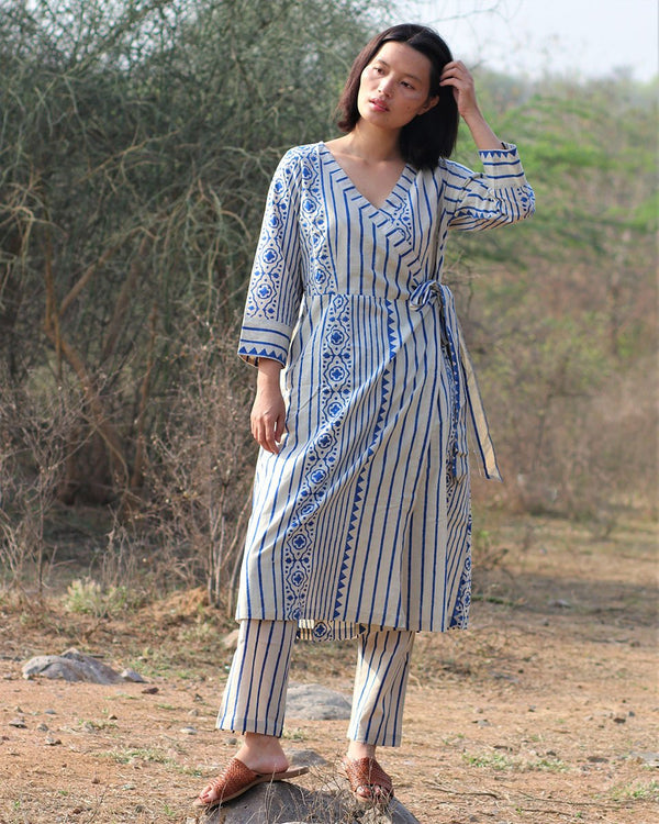Beige blue blockprinted anarakha kurti set of 2