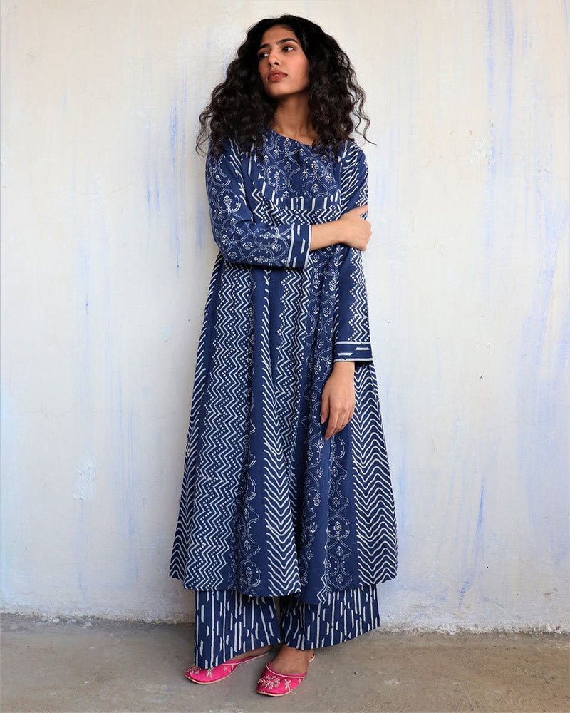 Indigo Block Printed Cotton Kurta Set Of 2 -Easy