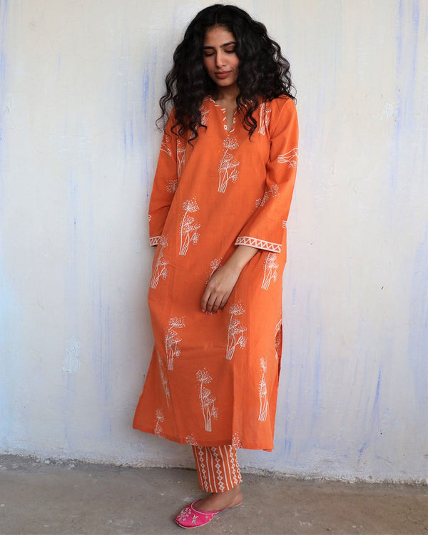 Orange Block Printed Cotton Kurta Set Of 2 -Easy