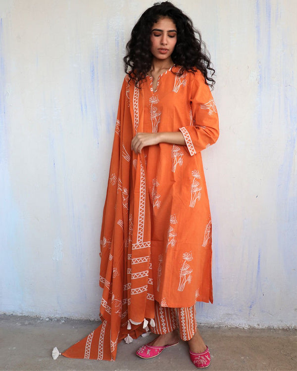 Orange Block Printed Cotton Dupatta -Easy
