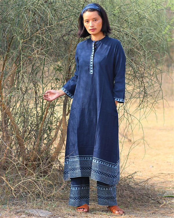Blue blockprinted  kurti set of 2-moh