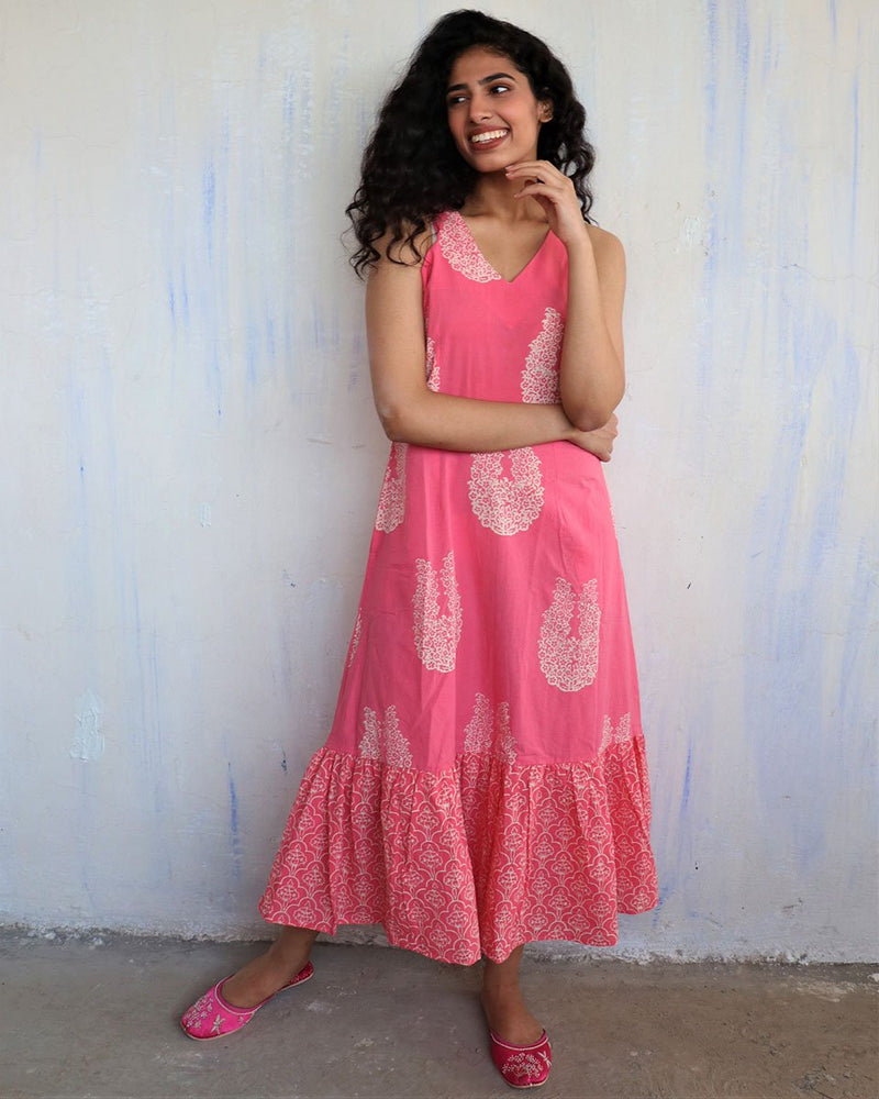 Pink Block Printed Cotton Dress -Easy