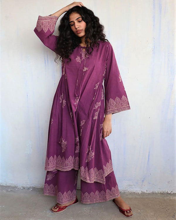 Purple Block Printed Cotton Kurta Set Of 2 -Easy