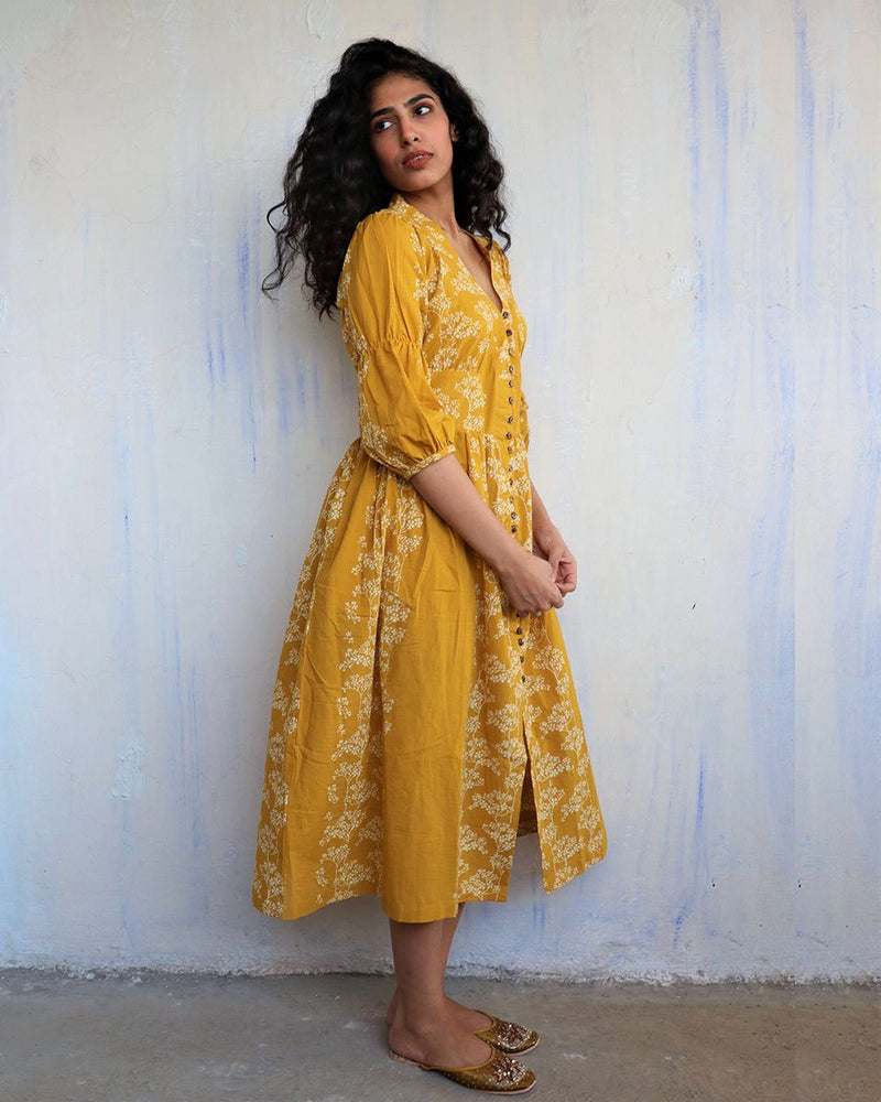 Yellow Block Printed Cotton Dress -Easy