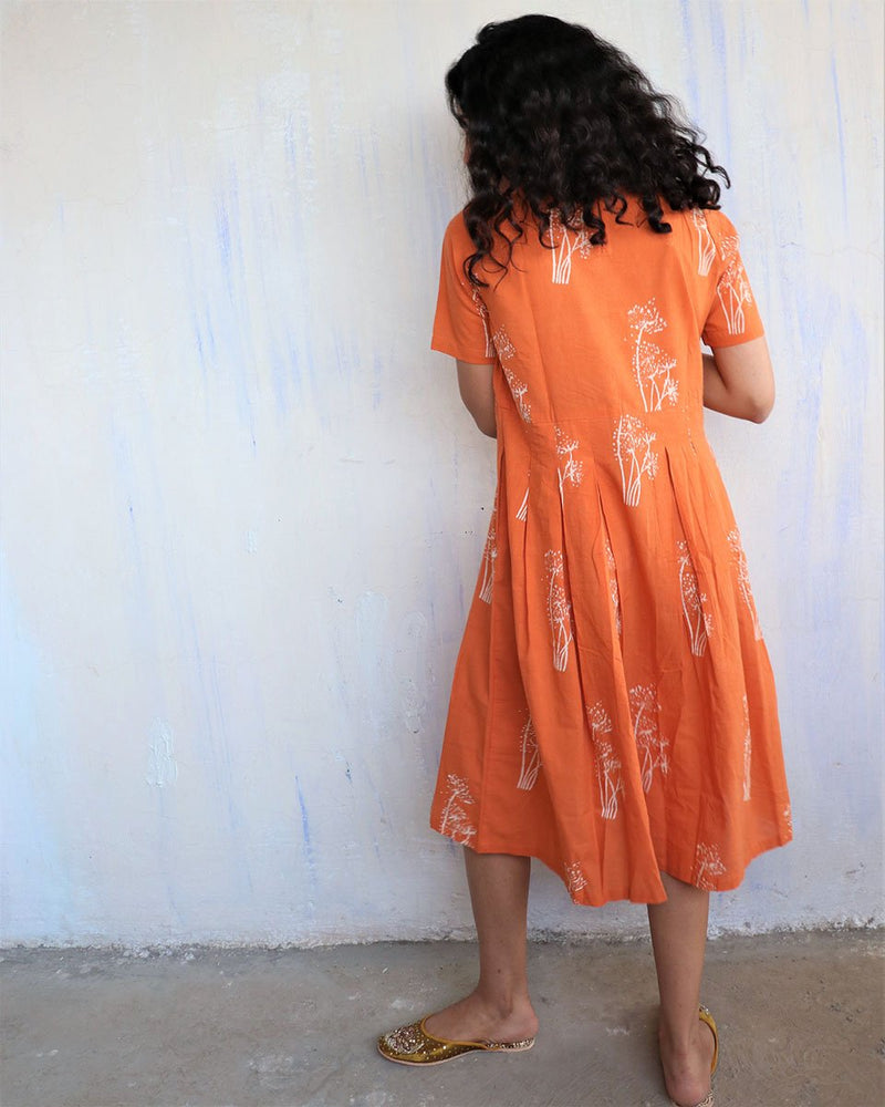 Orange Block Printed Cotton Dress -Easy