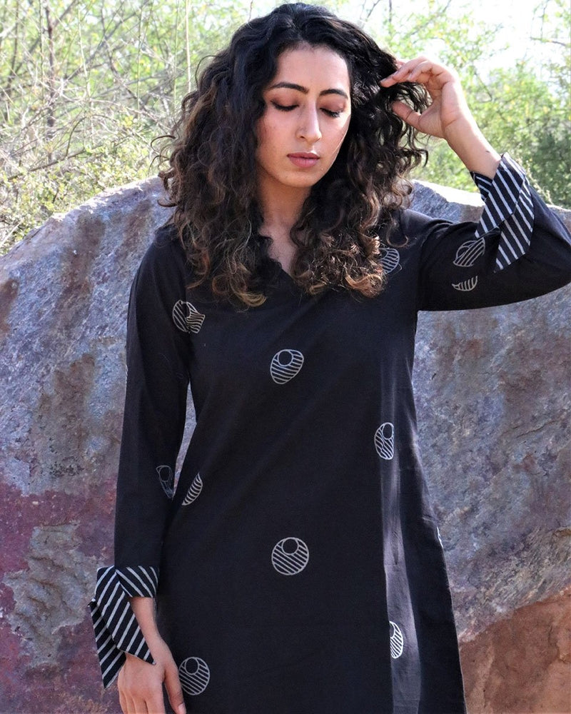 Black Moon Blockprinted Shift Dress