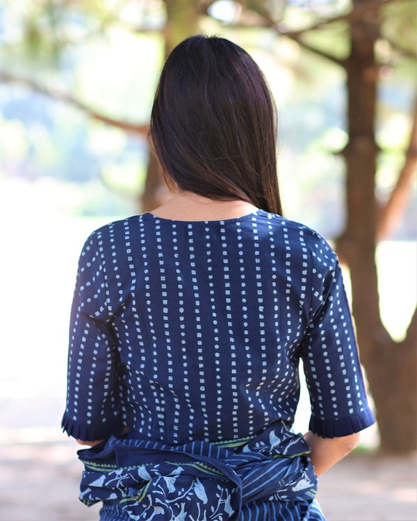 BLUE BLOCKPRINTED CROP TOP WITH FRILLS