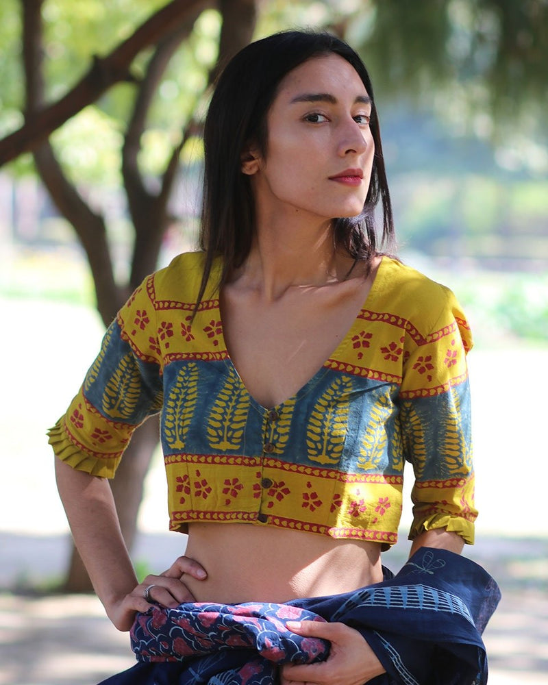 YELLOW BLOCKPRINTED CROP TOP BLOUSE
