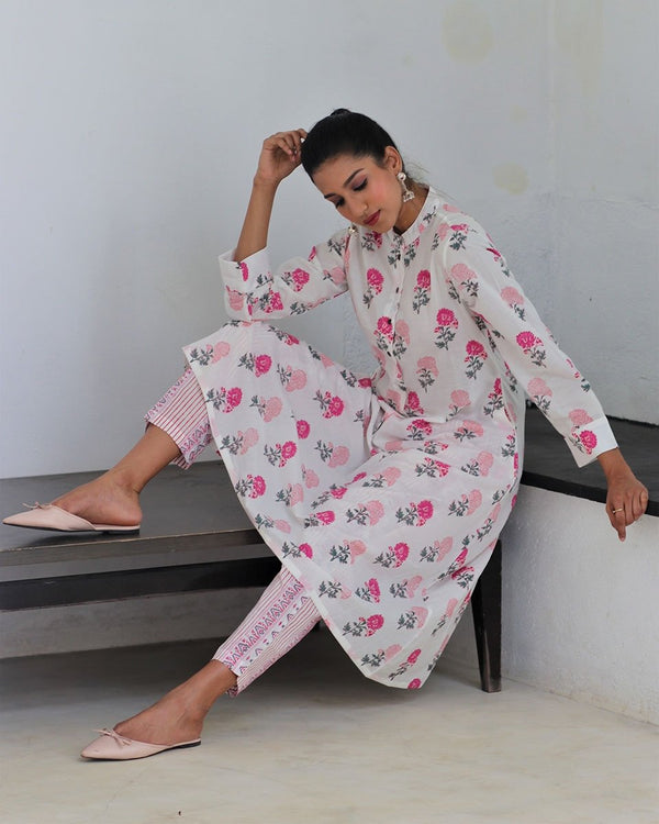 PINK BLOCKPRINTED COTTON BOTTOMS