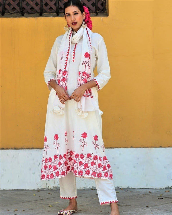 Ivory Red blockprinted long kurta