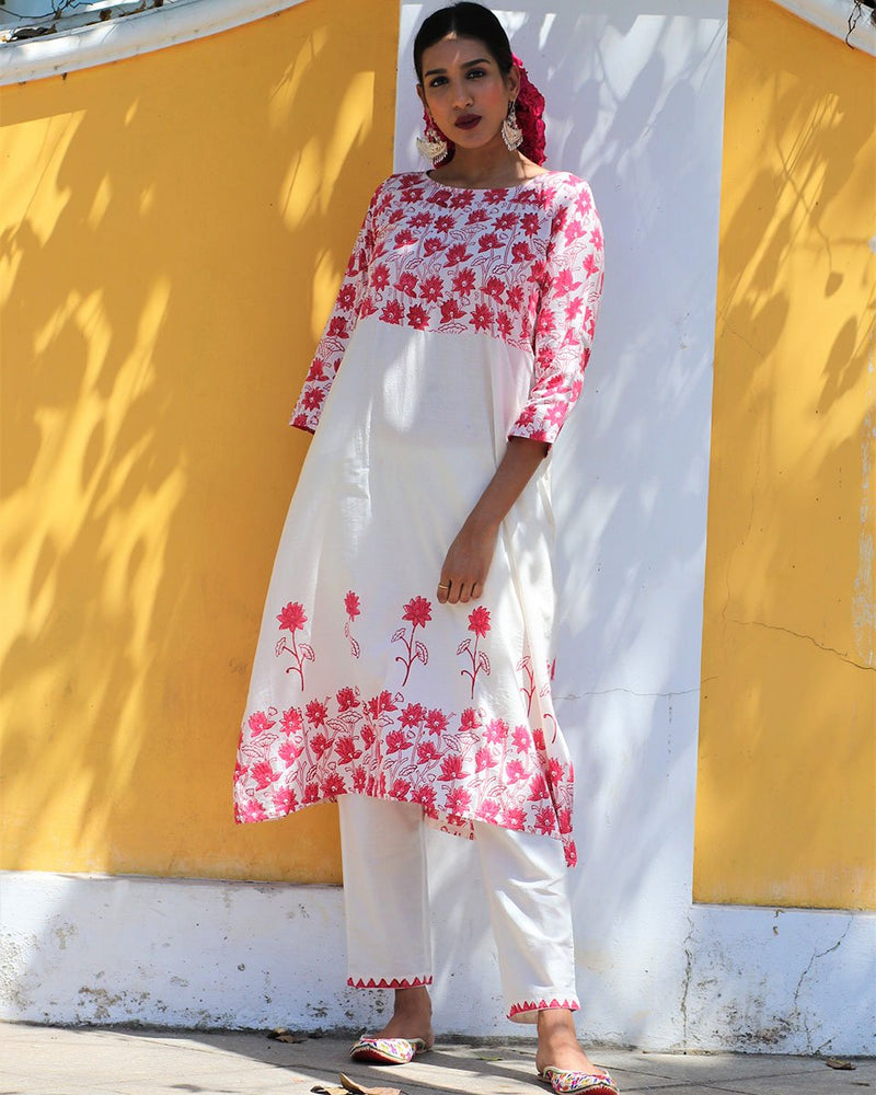 Ivory Red blockprinted floral kurta