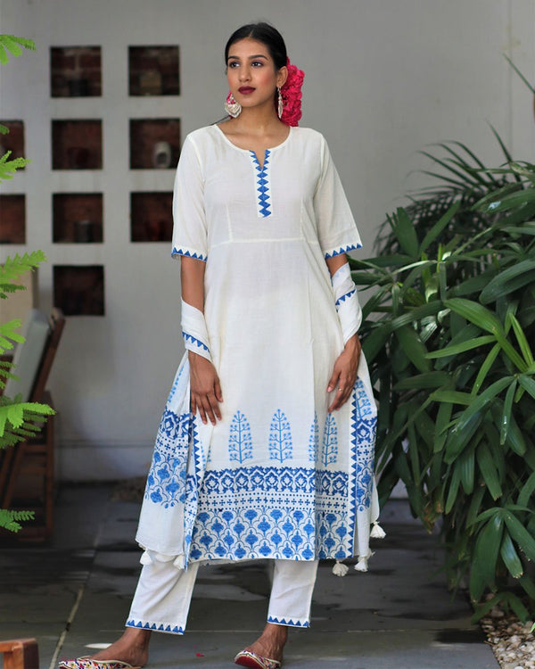 Ivory Blue blockprinted straight kurti