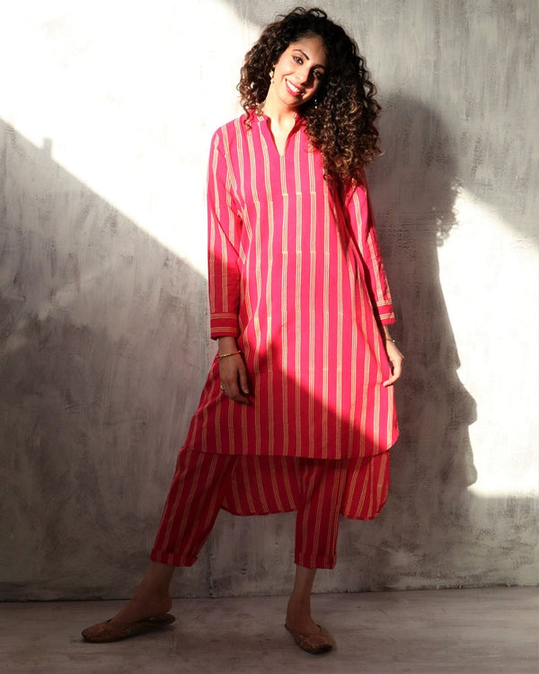 Rani stripe blockprinted cotton dress