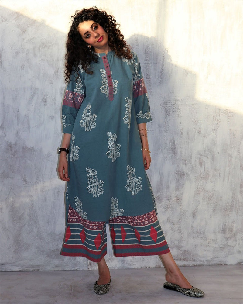 Steel Blue blockprinted cotton mandarin dress