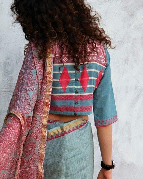 Steel Blue Blockprinted Crop top