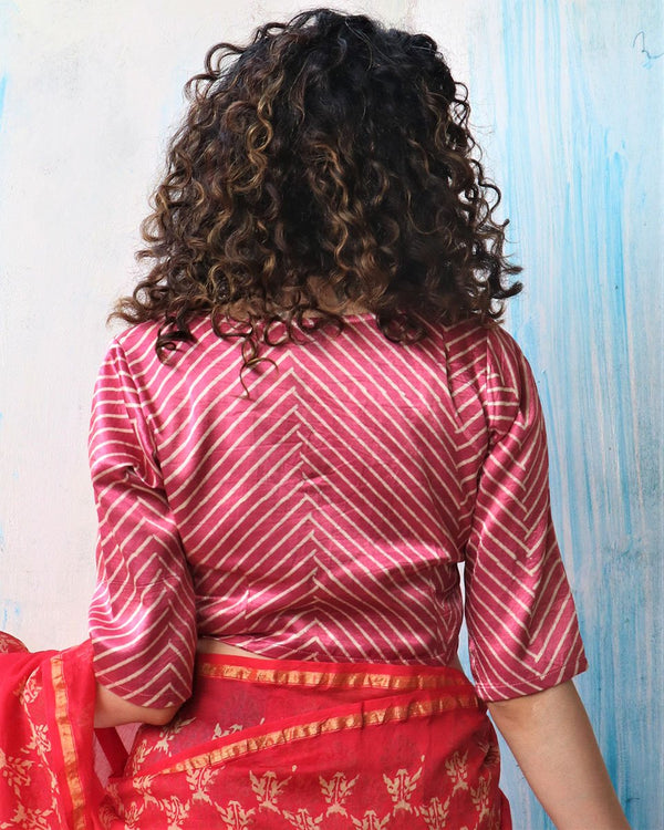 PINK SUNHERI MASHRU SILK CROP TOP BLOUSE