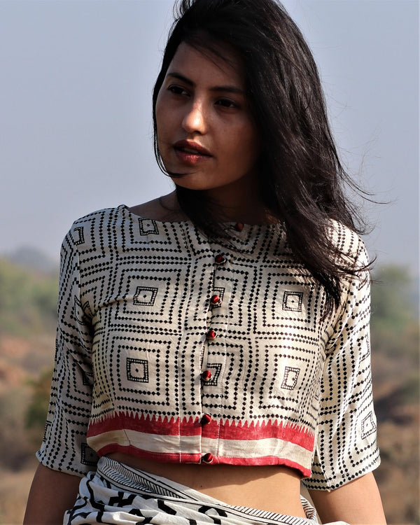 Ivory checked Mashru Silk blouse
