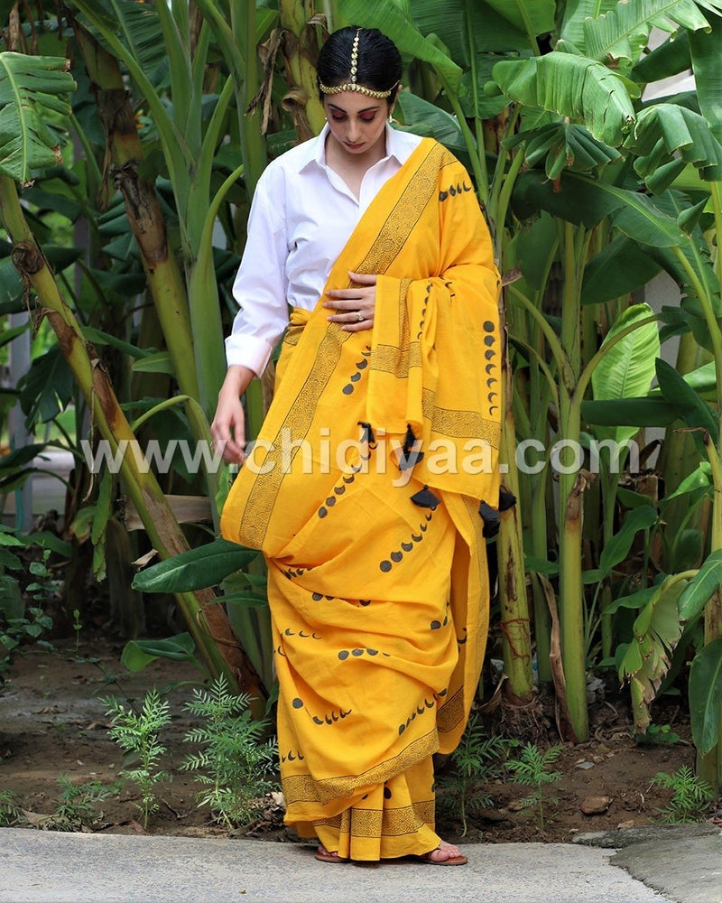 Yellow eclipe blockprinted cotton mul saree