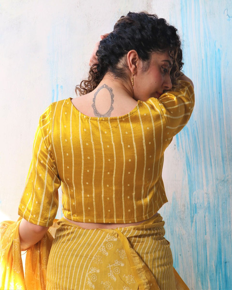YELLOW SUNHERI MASHRU SILK CROP TOP BLOUSE