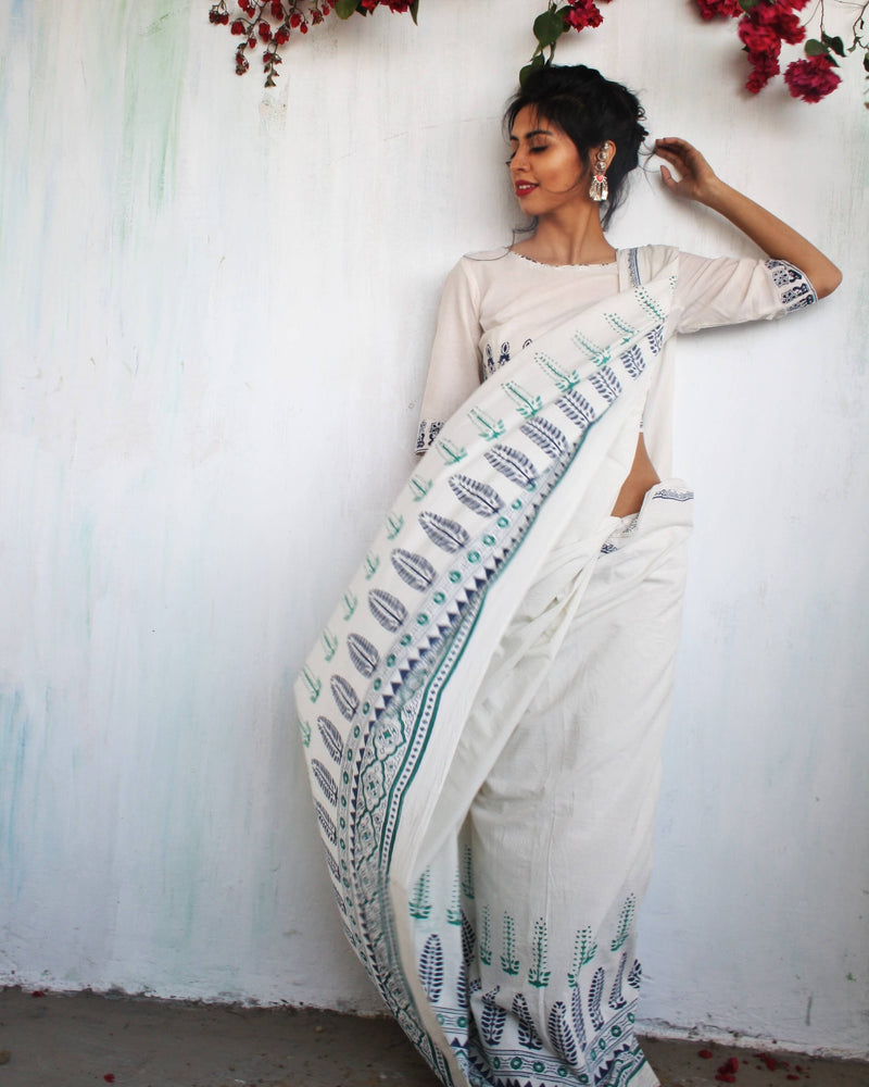 Ivory Blue-Green Block Printed Cotton Mul Saree