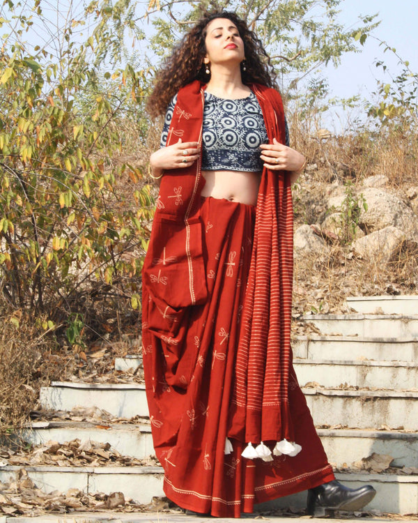 Maroon Dragonfly Block Printed Cotton Mul Saree