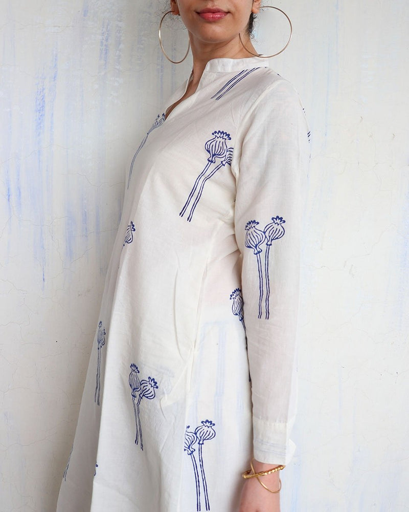 WHITE BLUE POPY BLOCKPRINT DRESS