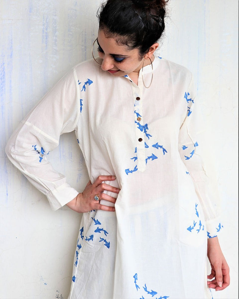WHITE BLUE  FISH BLOCKPRINT DRESS