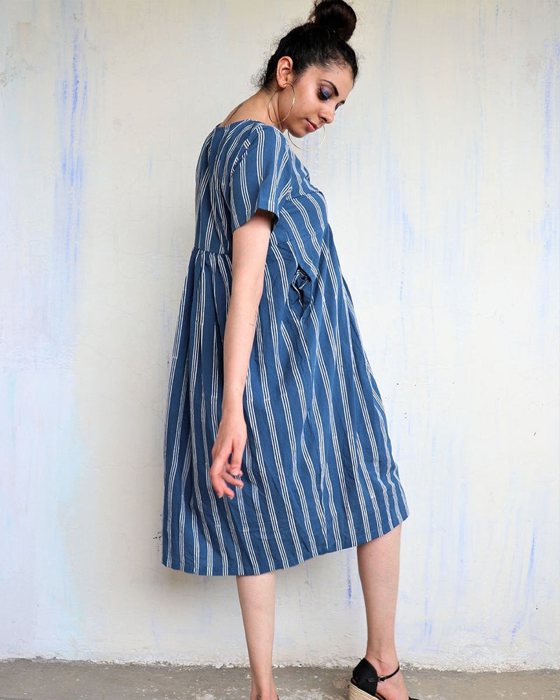 SKY BLUE BLOCKPRINTED COTTON STRIP DRESS