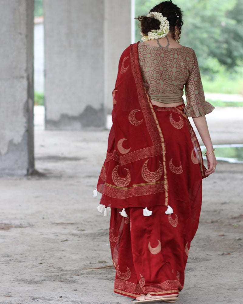 Maroon Cresent Block Printed Pure Chanderi Saree