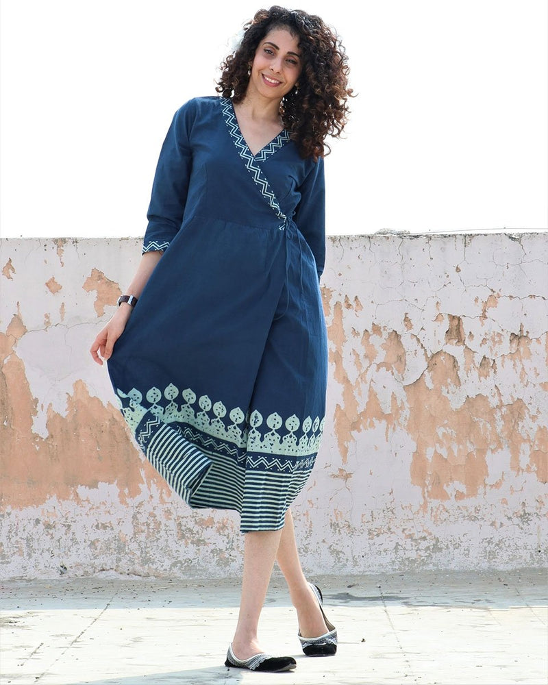 BLUE BLOCKPRINTED COTTON WRAP DRESS