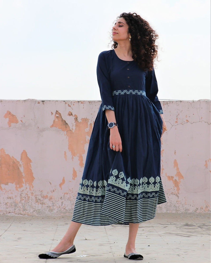 BLUE BLOCKPRINTED COTTON GATHERED DRESS