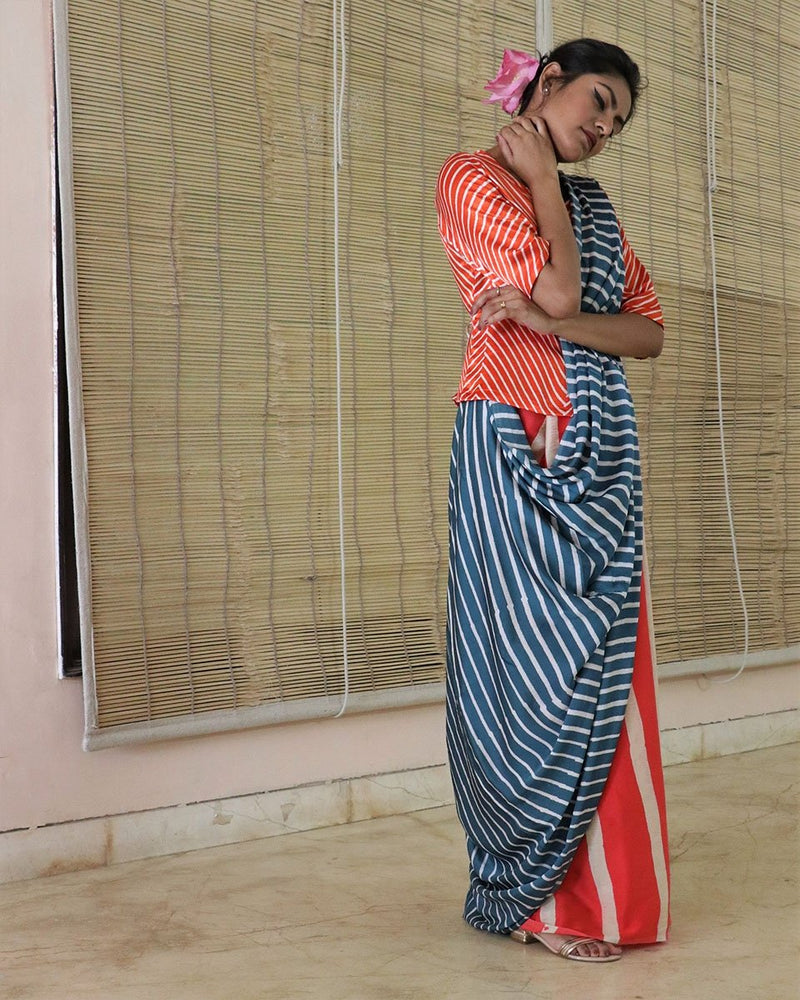 Blue-Orange BlockPrinted Modal Silk Saree