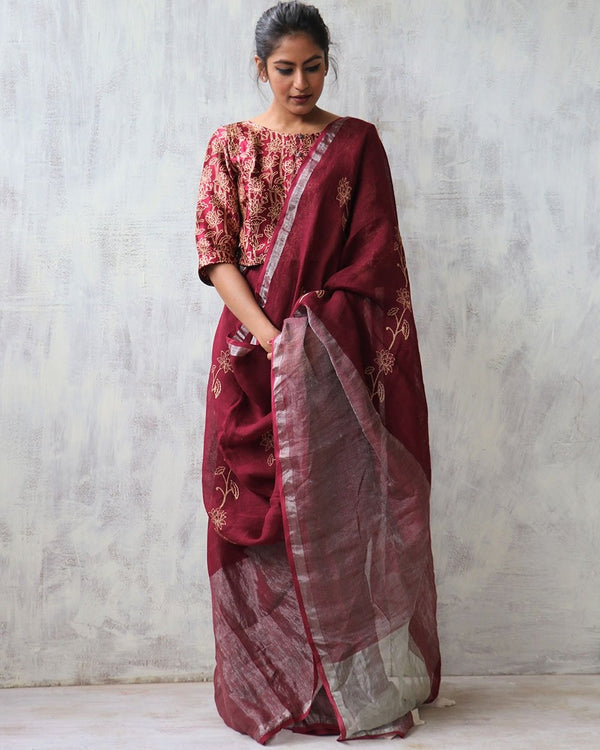 Maroon BlockPrinted Pure Handwoven Linen Zari Saree
