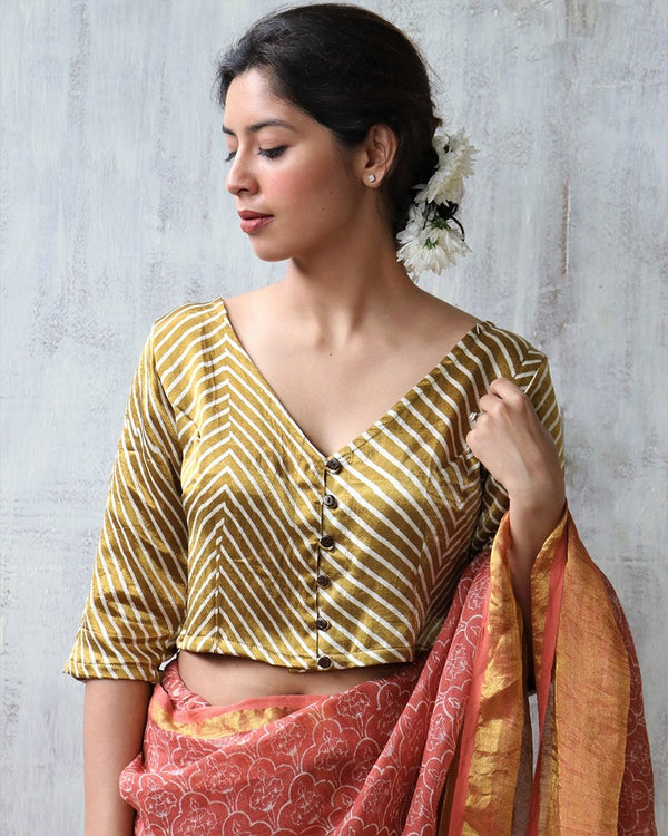 GOLD BLOCKPRINT MASHRU SILK CROP TOP BLOUSE