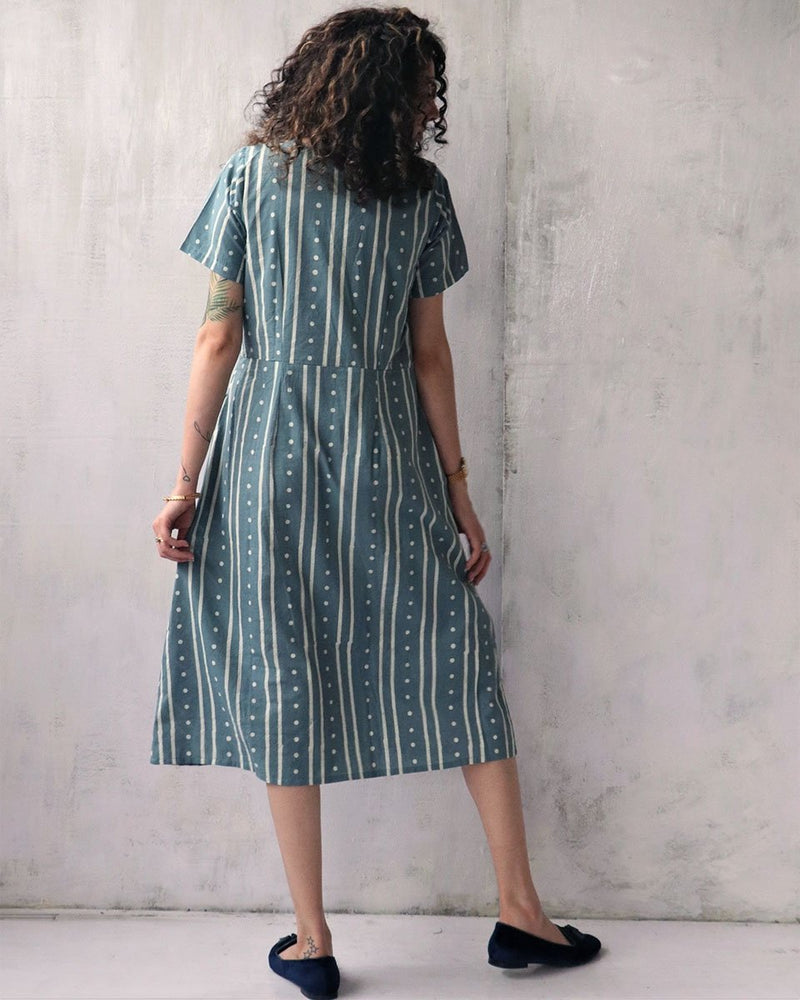 STEEL BLUE BLOCKPRINTED COTTON DRESS