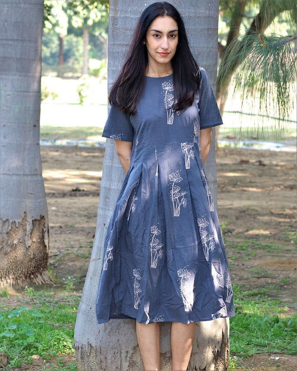 Grey wildflower blockprinted cotton pleated dress