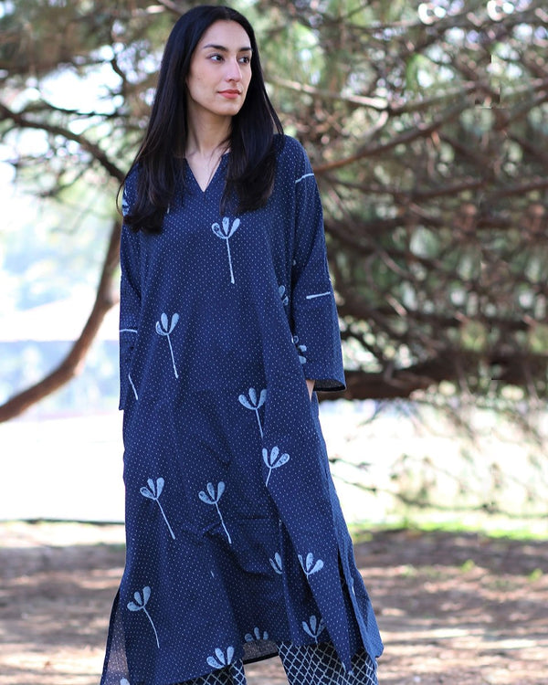 BLUE BLOCKPRINTED KURTI WITH PALAZZO (SET OF 2)