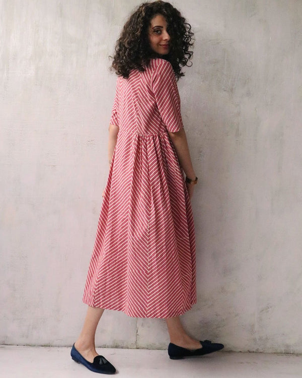 PINK BLOCKPRINTED COTTON DRESS