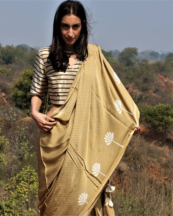 Mustard blockprinted modal silk saree